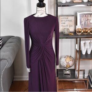 Vince Camuto Plum Long Sleeve Evening Gown